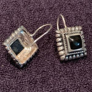 Sterling Silver Earrings with Square Onyx Stone